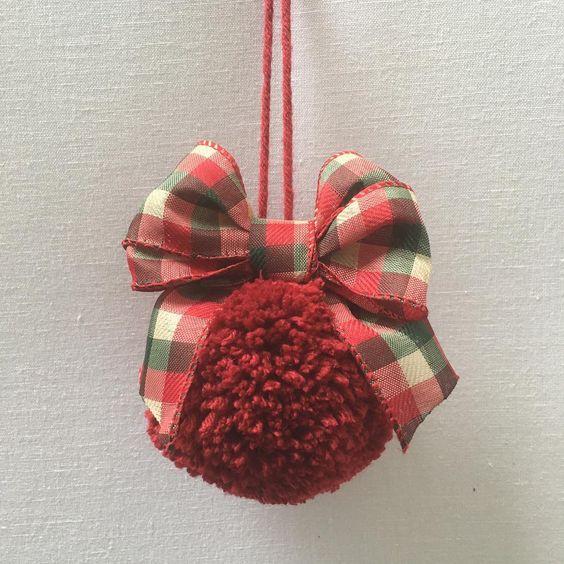 bola de natal de pompom
